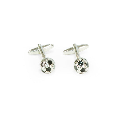 Bey Berk Rhodium Plated Soccer Ball Cufflinks