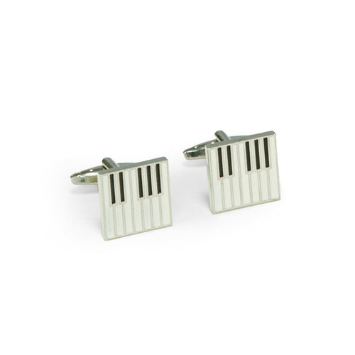 Bey Berk Rhodium Plated Piano Keyboard Cufflinks
