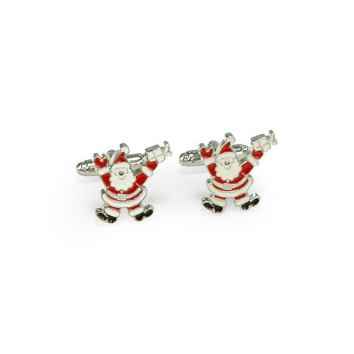 Bey Berk Rhodium Plated Santa Claus Cufflinks