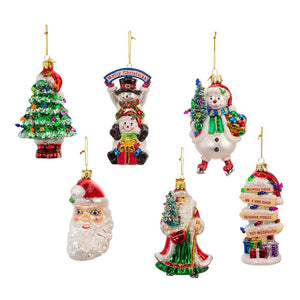 "Kurt Adler 4-5"" Noble Gems™ Traditional Christmas Ornaments, 6-Piece Box Set"