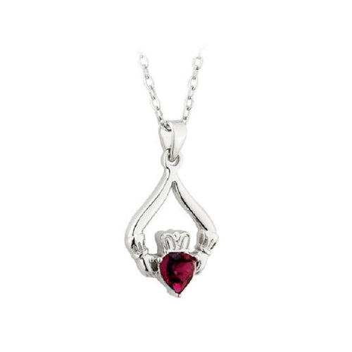 Solvar Rhodium Plated Claddagh Birthstone Pendant- February
