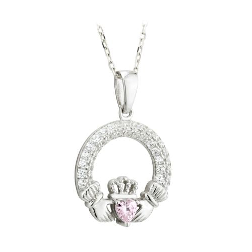 Silver CZ Birthstone Claddagh Pendant Necklace - October