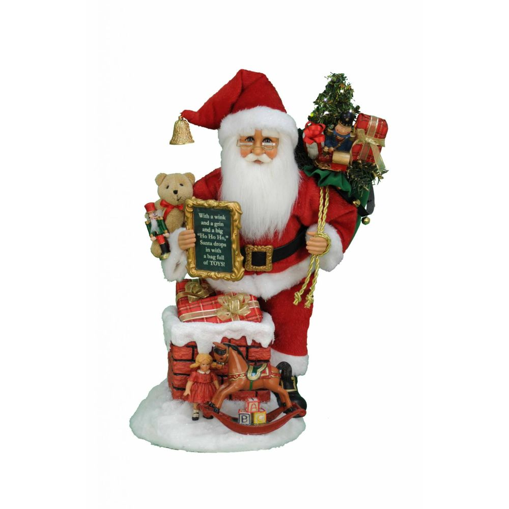Karen Didion Originals Lighted Good Saint Nick Chimney Figurine, 18 Inches