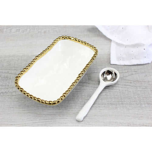 Pampa Bay Get Gifty - The Golden Beaded Procelain Set - Dish and Spoon