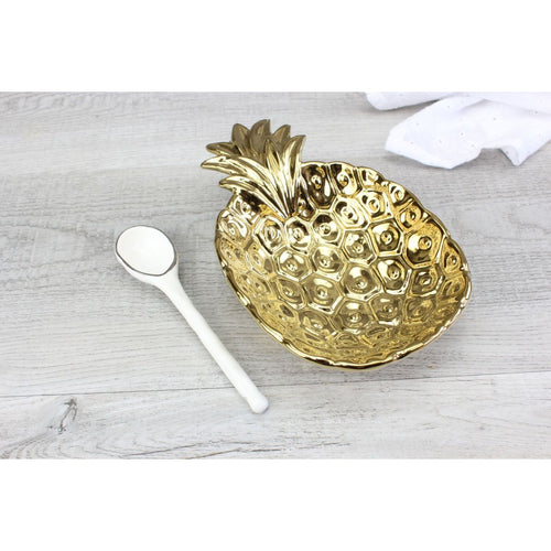 Pampa Bay Get Gifty - The Golden Pineapple Procelain Set - Dish and Spoon