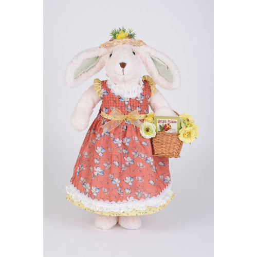 Karen Didion Originals Flower Basket Bunny Figurine, 23 Inches