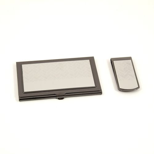 Money Clip & Business Card Case Set-Gunmetal & Silver Plated