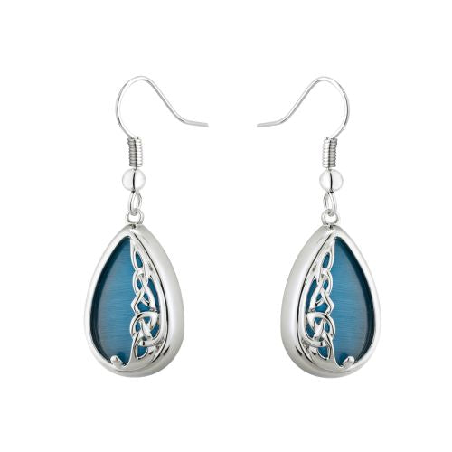 Solvar Book of Kells Rhod Plate Aqua Cat Eye Drop Earrings