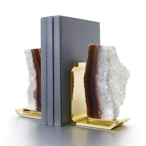 Anna New York Fim Bookends: Natural Druze Brass Set of 2