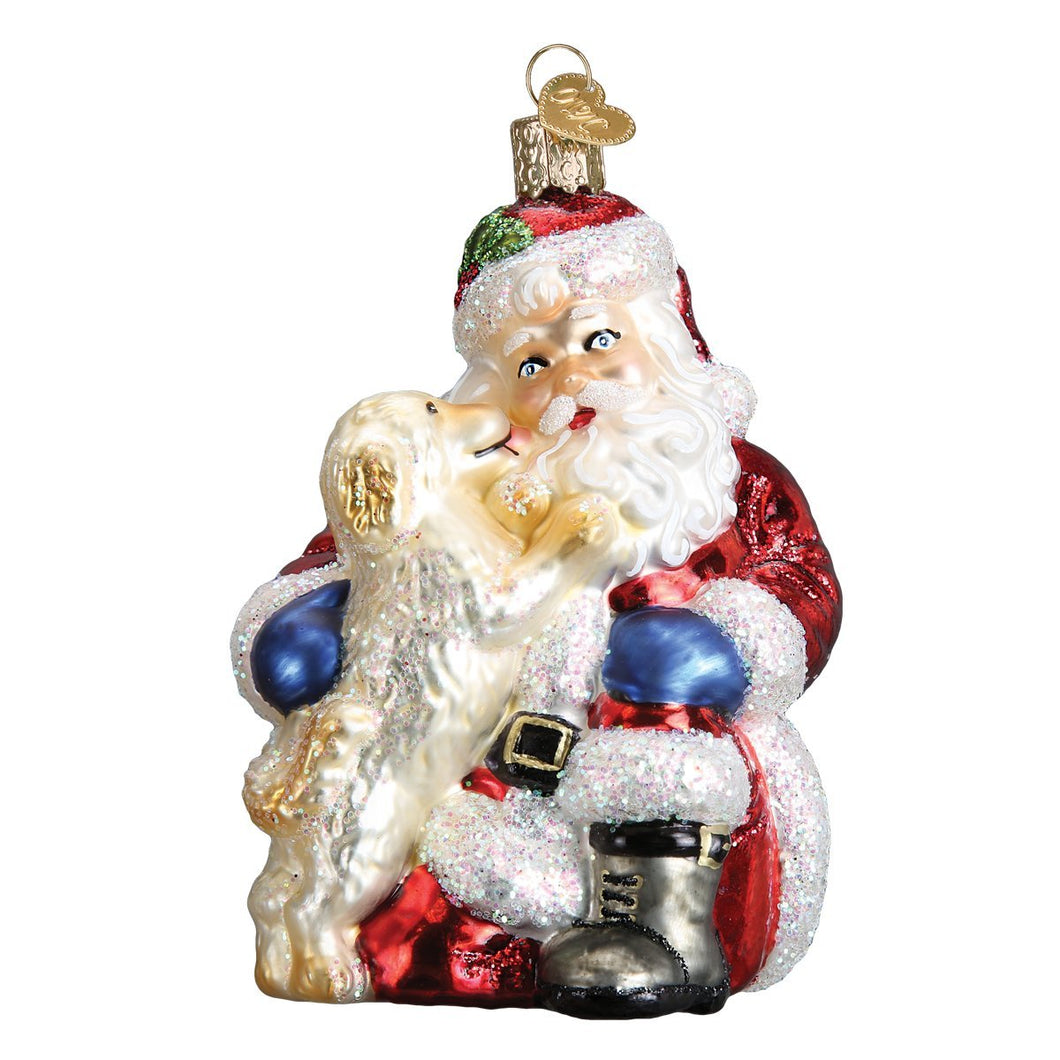 Old World Christmas Ornament Santa's Puppy Love