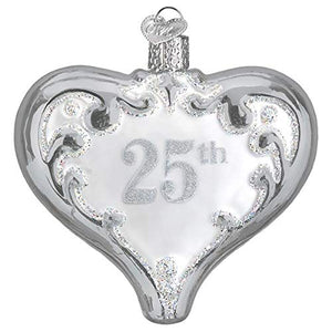 Old World Christmas 25Th Anniversary Heart Ornament