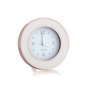 Addison Ross Rose Gold White Enamel Clock