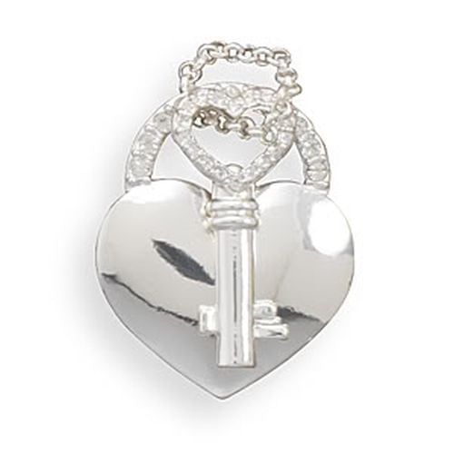 MMA Heart and Key Fashion Pendant with Crystal