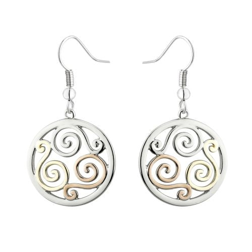 Solvar Celtic Three Tone Swirl Earrings