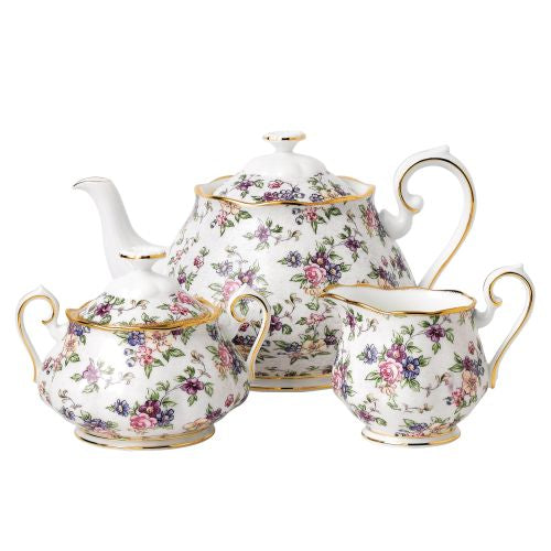Royal Albert 100 Years Teapot, Sugar & Creamer, Chintz