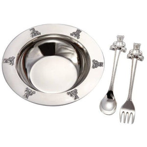 Silverplated Baby Bear Bowl, Silver Platedoon, Fork Set