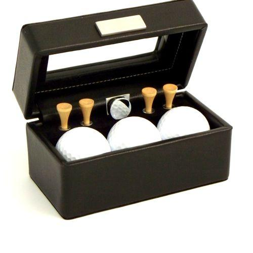 Bey Berk Golf Accessories Black Leather Box With Glass Top