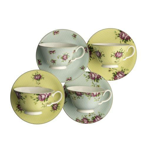 Aynsley Archive Rose Teacups and Saucers (Set of 4)