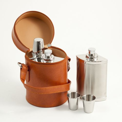 Six Piece Stainless Steel Flask Set In Brown Leather Case