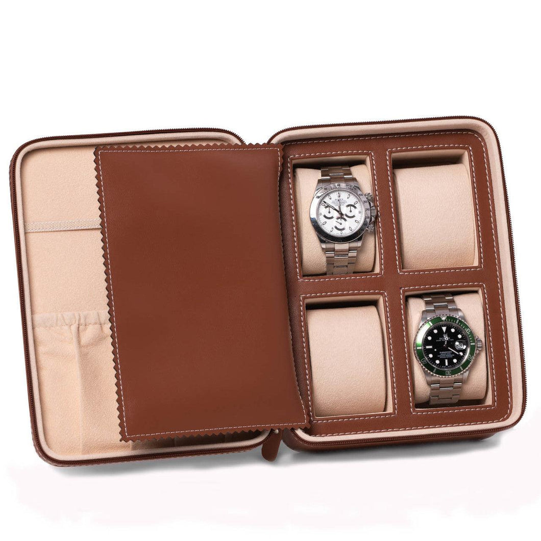 Bey Berk Saddle Leather Four Watch And Accessory Case