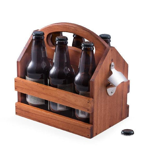 Bey Berk Solid Wood 6 Pack Bottle Caddy And Bottle Opener