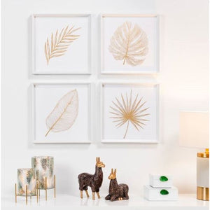 Torre & Tagus Gold Feathered Palm Leaf Framed Canvas Print