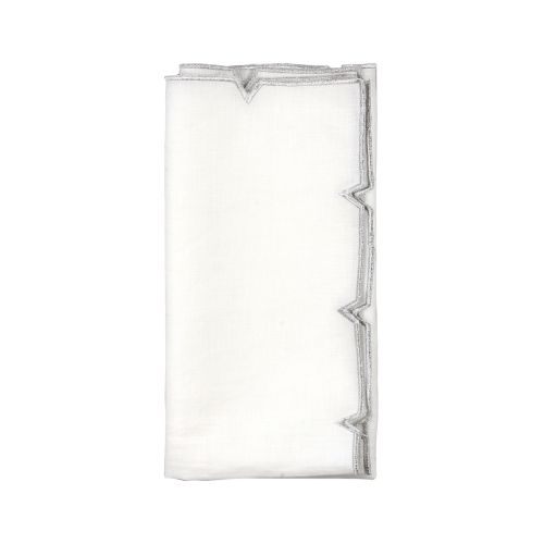 Kim Seybert Divot Napkin In White & Silver, Set of 4