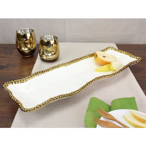 Pampa Bay Golden Salerno Porcelain Rectangle Serving Piece