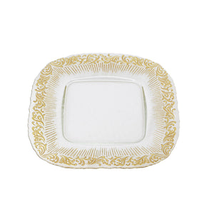 Classic Touch Set Of 4 Square Chargers w/ Lacey Gold Design