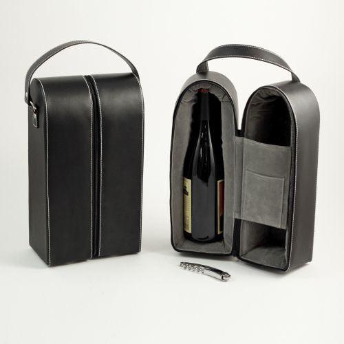 Black Leather Wine Caddy For Two Bottles & Bar Tool