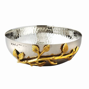 Leeber Golden Vine Hammered Salad Bowl, 6.5""