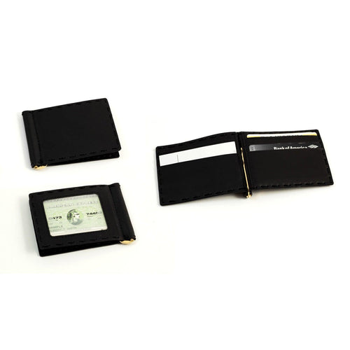 Bey Berk Black Leather Wallet With Money Clip And Id Window