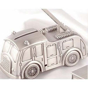 Leeber Fire Truck Bank, Pewter Finish