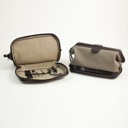 Suede & Brown Leather Toiletry Bag & Manicure & Grooming Set