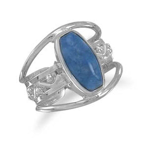 MMA Soft Rectangle Lapis Three Row Ring / Size 6