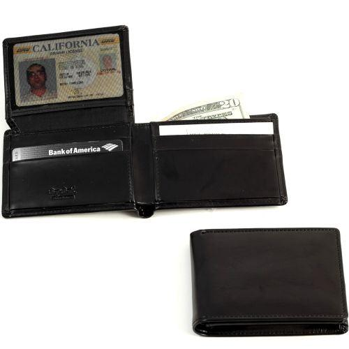 Bi-Fold Black Leather Wallet With Flip Out Id Window