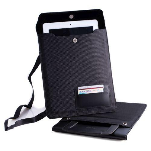 Black Leather & Ballistic Nylon Tablet Carrying Case