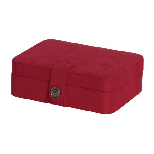 Mele Giana Red Plush Fabric Jewelry Box With Lift Out