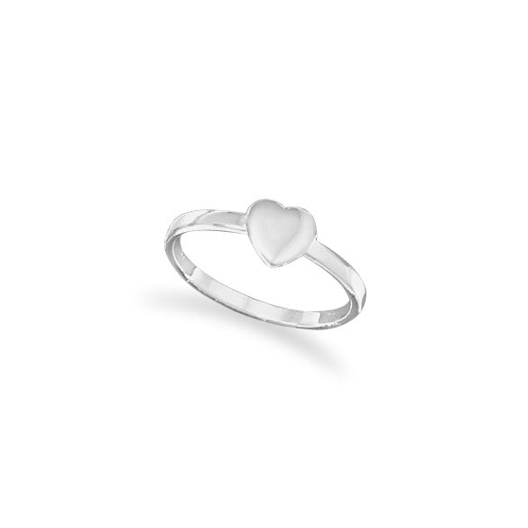MMA Sterling Silver Small Polished Heart Ring / Size 9