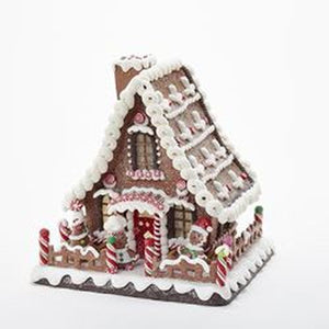 "10"" Battery Operated Claydough Led Gingerbread House TablePc"