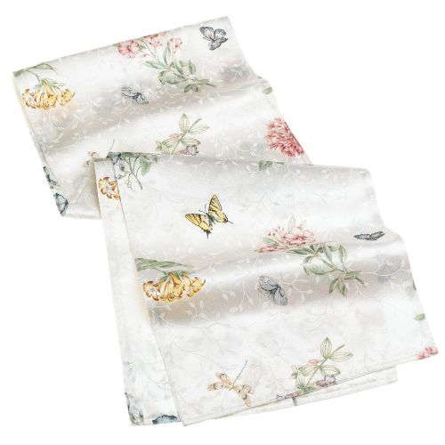 Lenox Butterfly Meadow Jacquard Damask Multi-Color Runner
