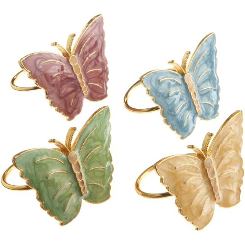 Lenox Butterfly Meadow Set Of 4 Multi-Color Butterfly Napkin Rings
