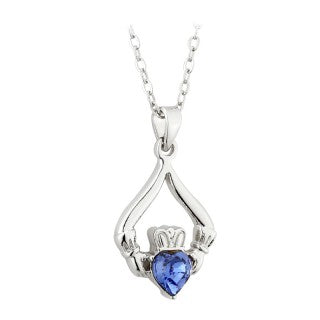 Solvar Rhodium Plated Claddagh Birthstone Pendant- September