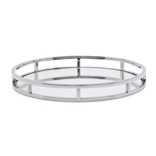 Torre & Tagus Lux Round Stainless Steel Mirror Tray