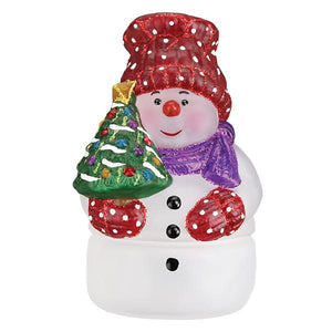 Old World Christmas Snowman With Tree Candle Light
