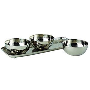 Leeber Hammered 3 Bowl Set with Tray