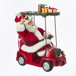 "Kurt Adler 11.25"" Golf Santa Driving Golf Cart"