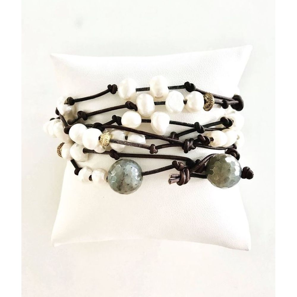 Triple Strand Jill Leather Cord Wrap Wristlet with Pearls
