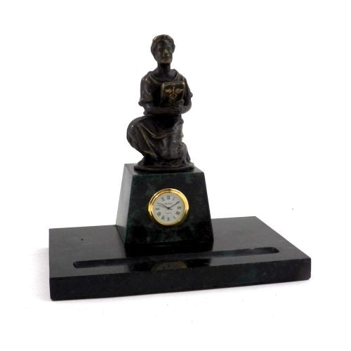 Hippocrates Sculpture With Pen Holder & Quartz Clock