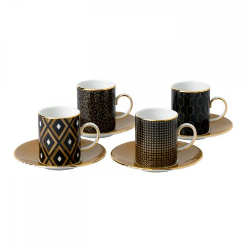 Wedgwood Arris Accent Espresso Cup & Saucer Set/4
